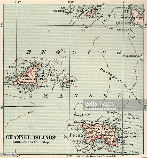 Map Of Channel Islands Map Of Channel Islands United Kingdom Circa 1902 From The 10Th Edition Of Encyclopaedia Britannica
