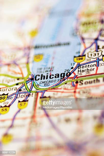 Map of Chicago, extreme close-up