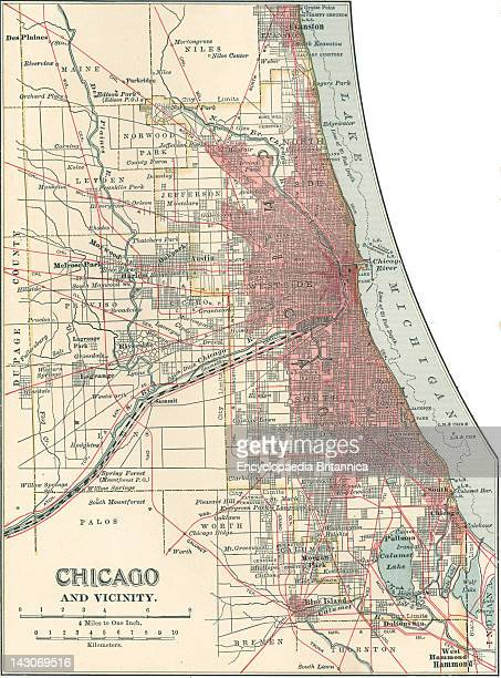 Map Of Chicago Map Of Chicago Illinois Circa 1900 From The 10Th Edition Of Encyclopaedia Britannica