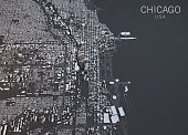Map of Chicago, satellite view, city, Usa. 3d rendering