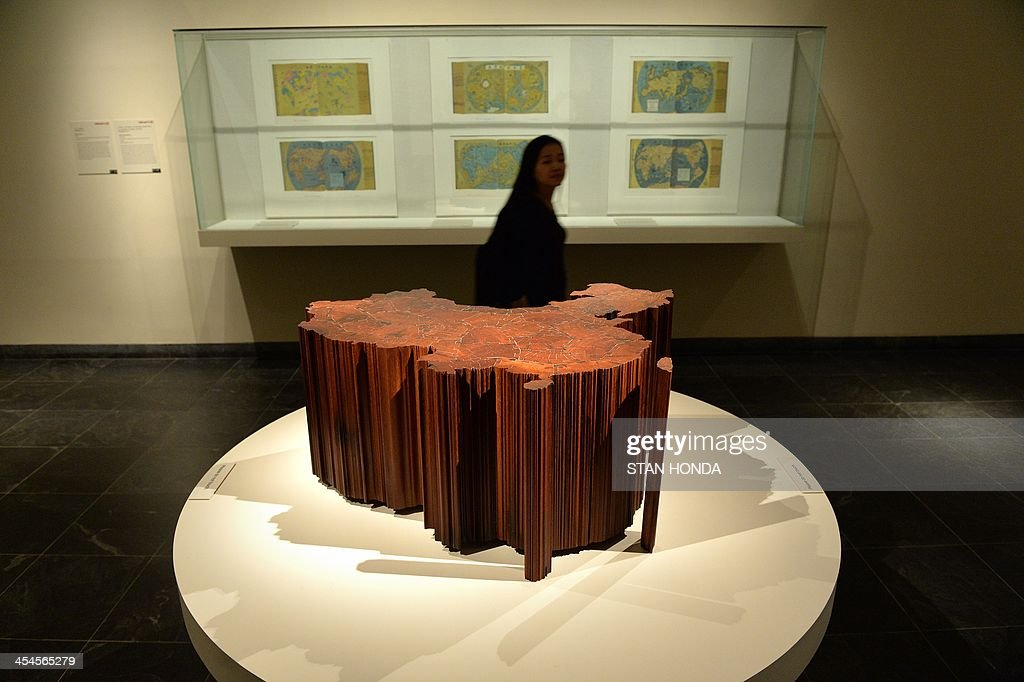 'Map of China' by Ai Weiwei, ironwood from dismantled Qing dynasty temples, is displayed in the exhibition 'Ink Art: Past as Present in Contemporary China' at the Metropolitan Museum of Art on December 9, 2013 in New York. A major exhibition of 70 pieces of art by 35 contemporary artists born in China goes on view to the public on December 11. AFP PHOTO/Stan HONDA ++RESTRICTED