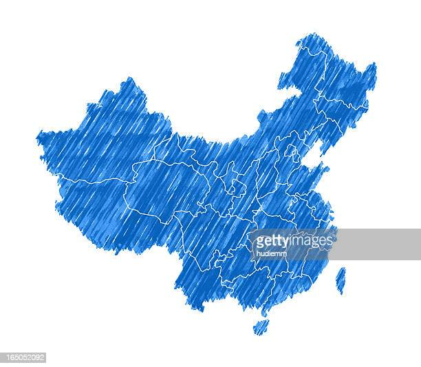 Map of China with Brush Stroke isolated on white background