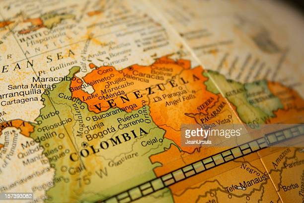 Mapa da Colômbia e da Venezuela