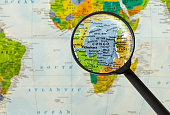 Map of Democratic Republic of the Congo through magnifying glass