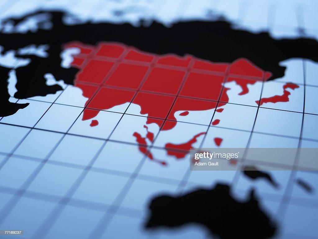 Map of eastern hemisphere highlighting Asia : Stock Photo
