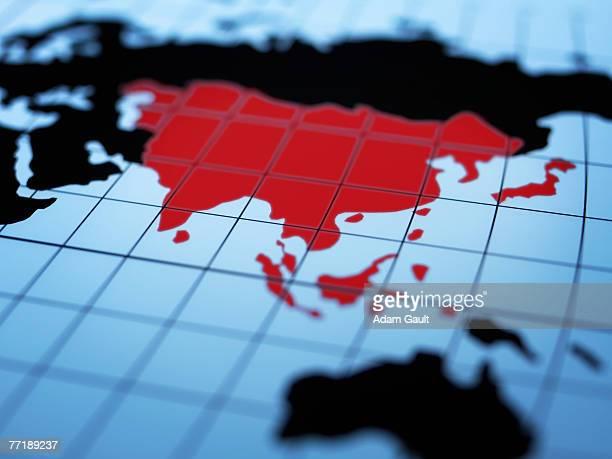 Map of eastern hemisphere highlighting Asia