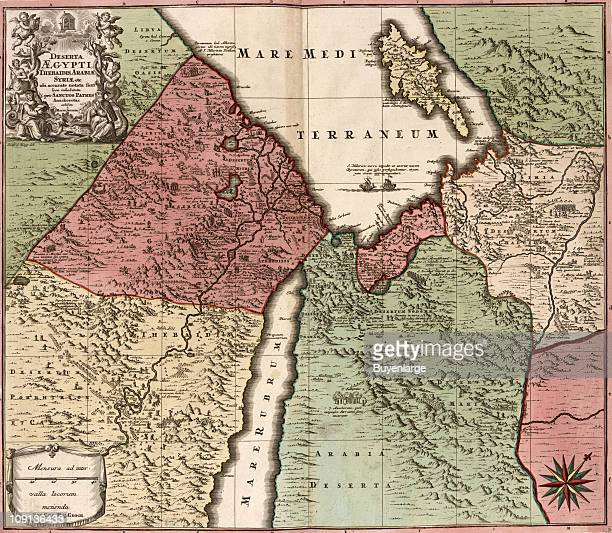 A map of Egypt Syria and Arabia showing the area near the Red Sea and the Mediterranean illustrated by Mattheus Seutter ca 1750
