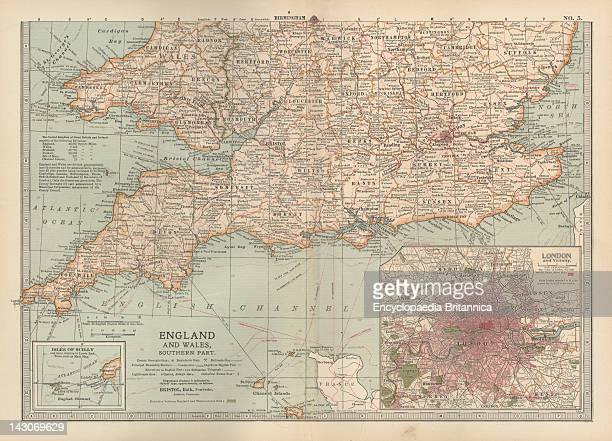 Map Of England And Wales Map Of Southern England And Wales Including Insets Of London And Vicinity And The Isles Of Sicily Circa 1902 From The 10Th...