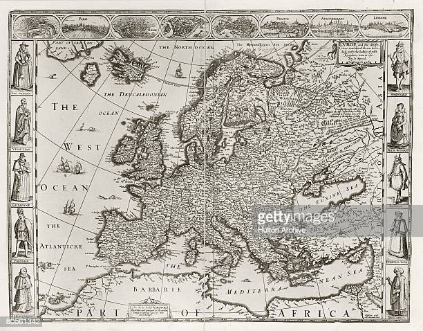 A map of Europe and the coast of North Africa by cartographer John Speed 1626 Around the edges are insets of the major European cities and their...
