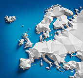 Low poly map of Europe on blue background.