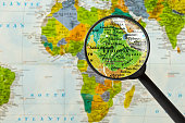 Map of Federal Democratic Republic of Ethiopia through magnifying glass