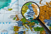 map of Finland through magnifying glass