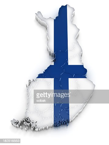 A map of Finland with the design of their flag