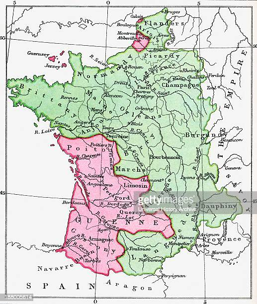 Map Of France At The Time Of The Treaty Of Bretigny 1360 From The Book Short History Of The English People By JR Green Published London 1893