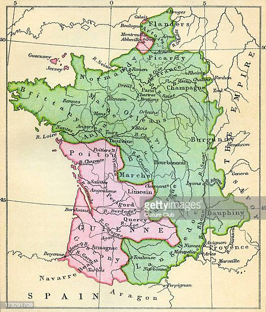 Map of France at the Treaty of Brétigny 9 May 1360 Treaty between King Edward III of England and King John II of France During Hundred Years' War