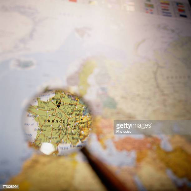 Map of France Under a Magnifying Glass