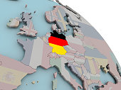 Illustration of Germany on political globe with embedded flags. 3D illustration. 3D model of planet created and rendered in