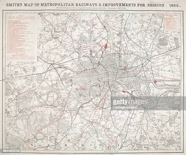 Map of Greater London showing the Metropolitan Railways and improvements in 1866 With a table inset listing the proposed lines Completed railways are...