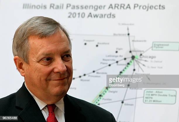 A map of Illinois rail lines and proposed upgrades stands behind Democratic US Senator Dick Durbin during a news conference announcing high speed...