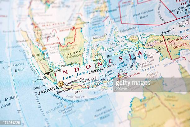 Map of Indonesia on the world globe