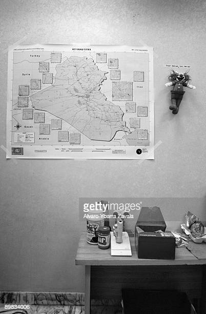A map of Iraq inside the the 28th CSH known as 'China Dragon' at Baghdad hospital