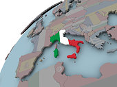 Italy on political globe with embedded flags. 3D illustration.
