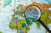 Map of Kazakhstan through magnifying glass