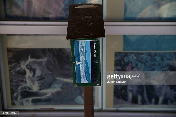 A map of Lake Mead is displayed in front of the closed Las Vegas Bay ranger station on May 13 2015 in Lake Mead National Recreation Area Nevada As...