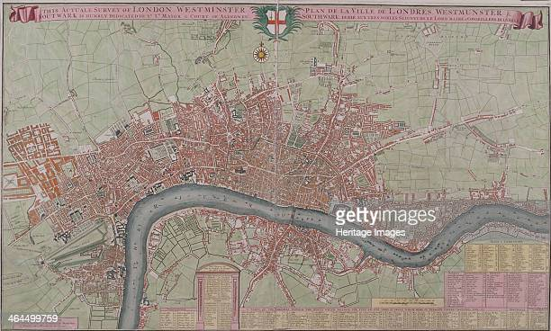 Map of London 1725 Map of the City of London City of Westminster River Thames Lambeth Southwark and surrounding areas