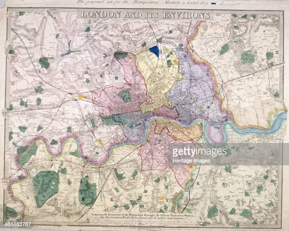 Map of London and surrounding areas 1847