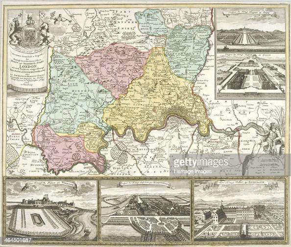 Map of London and surrounding counties 1710 With inset images of Chelsea Hospital Greenwich Hospital Windsor Castle Hampton Court Palace and...