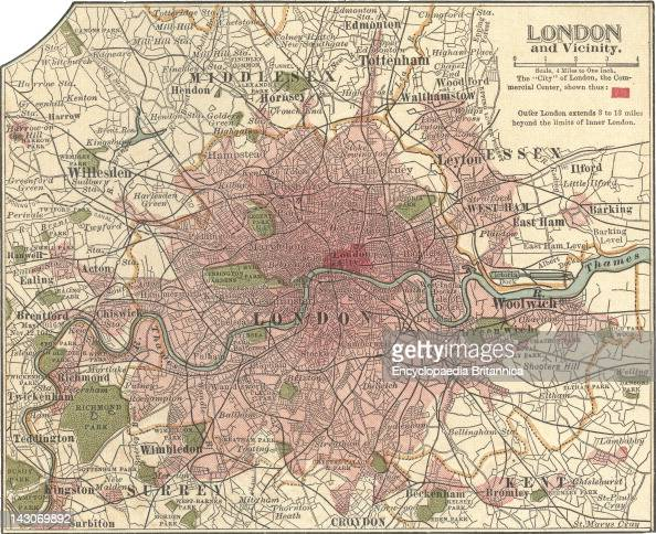 Map Of London Map Of London England Circa 1902 From The 10Th Edition Of Encyclopaedia Britannica