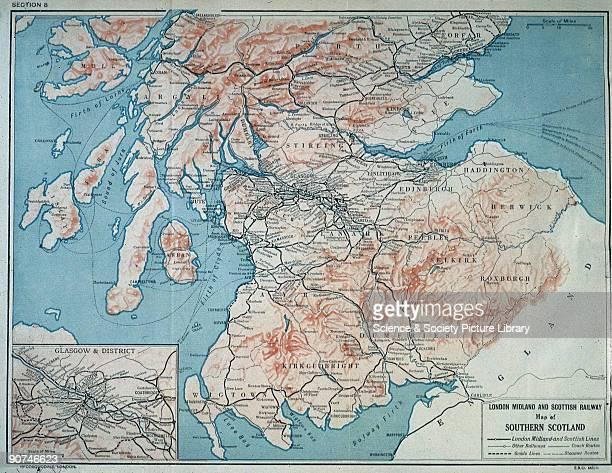 Map of London Midland Scottish Railway c1930 Map of Southern Scotland as served by the London Midland Scottish Railway