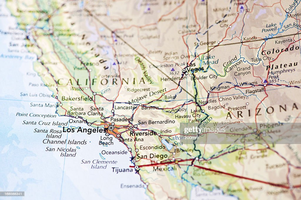 Map Of Los Angeles California Stock Photo Getty Images - Mapa california