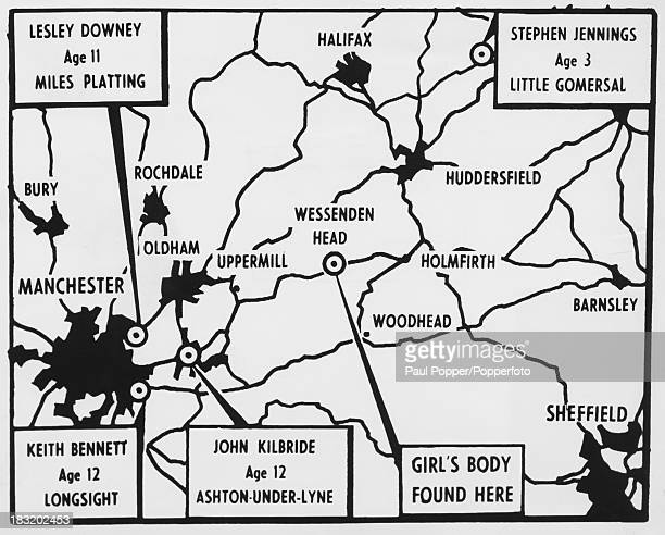 A map of Manchester and parts of Yorkshire showing where missing children believed to be victims of the Moors murderers Ian Brady and Myra Hindley...