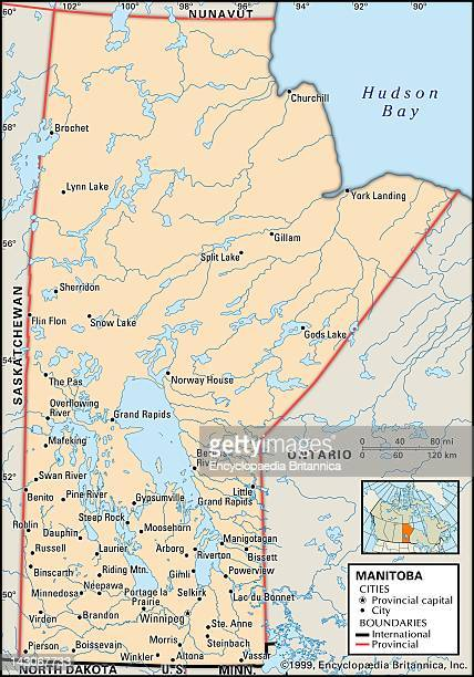 Map Of Manitoba Canada Stock Photos And Pictures Getty Images - Map of manitoba canada cities