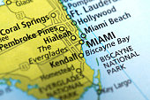Map of Miami, Florida State in US. Detail from the World Map.