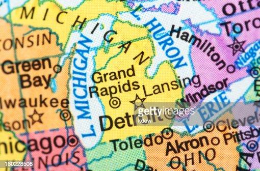 Mapa de Michigan com Detroit
