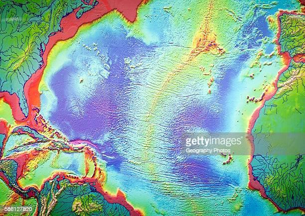 Map of mid Atlantic ridge and volcanoes Casa de los Volcanoes volcanic study center Lanzarote Canary island Spain