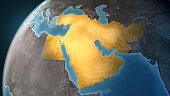 Map of Middle East on a Earth globe, looking west to Europe. Turkey, Syria, Lebanon, Israel, Jordan, Egypt, Saudi Arabia, Yemen, Oman, Qatar, United Arab Emirates, Kuwait, Iraq, Iran and Afghanistan a