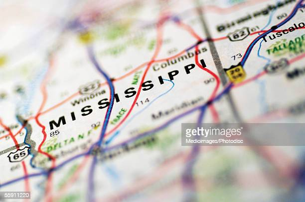 Map of Mississippi, extreme close-up