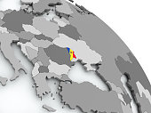 Moldova on globe with flag. 3D illustration. 3D model of planet created and rendered in Cheetah3D software, 29 Sep 2017.