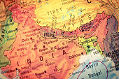 Vintage Map Nepal and Bhutan .  Close-up macro image of Nepalese  map . Selective focus