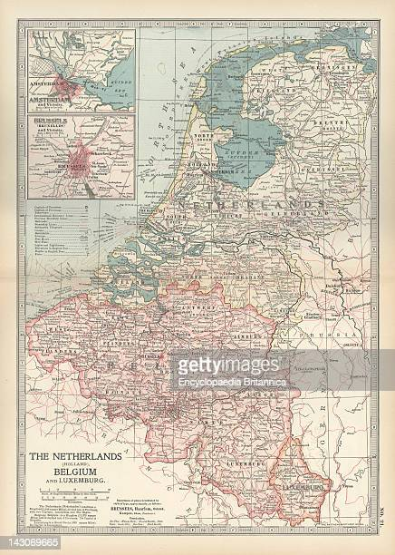 Map Of Netherlands And Belgium Map Showing The Historical Boundaries Of Netherlands Belgium Luxemburg With Insets Of Amsterdam And Brussels Circa...
