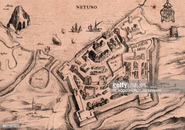 Map of Nettuno Lazio Italy copper engraving 25x185 cm from Nova et accurata Italiae hodiernae descriptio by Jodocus Hondius published by Bonaventura...