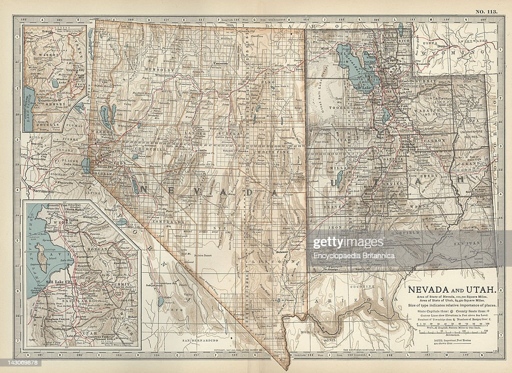 Map Of Nevada And Utah Pictures Getty Images - Us map utah
