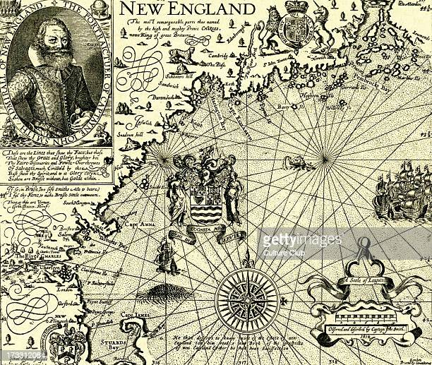 Map of New England published in Mercator 's 'Historia Mundi' 1635 With portrait of Captain John Smith Admiral of New England British explorer sailor...