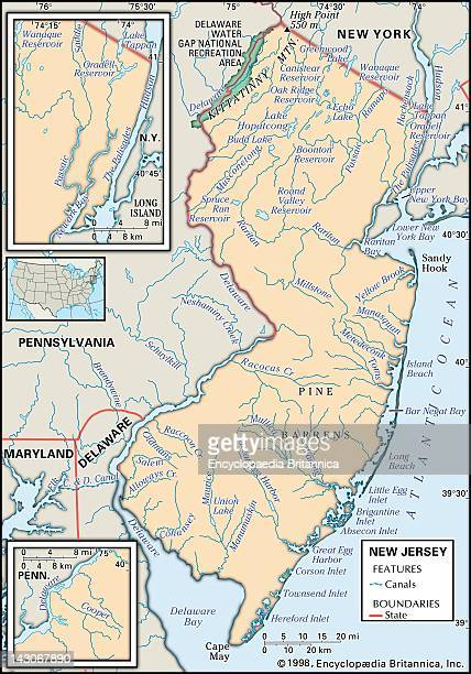 Map Of New Jersey Physical Map Of The State Of New Jersey Showing Major Lakes Canals And Other Features