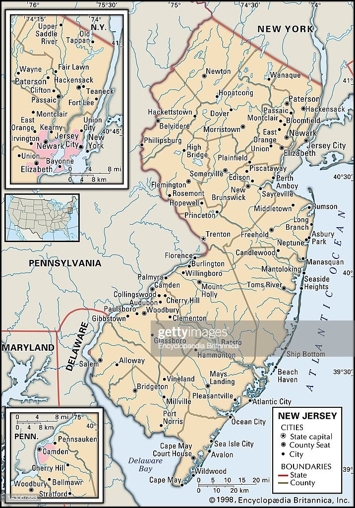 Map Of New Jersey Pictures Getty Images - Map of new jersey