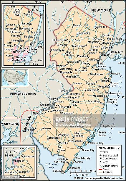 Map Of New Jersey Political Map Of The State Of New Jersey Including Insets Of The Camden And Newark/Jersey City Metropolitan Areas